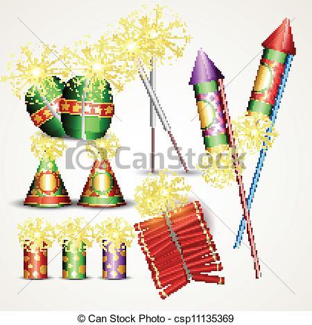 Fireworks clipart diwali cracker Clip diwali set Art crackers
