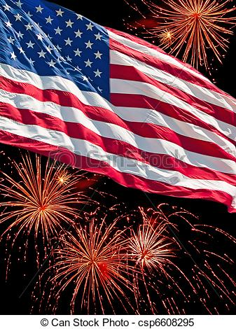 Fireworks clipart flag And Clipart Fireworks Flag And