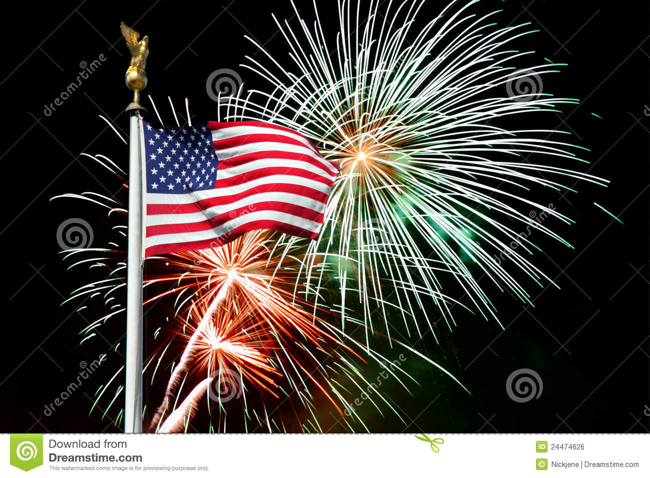 Fireworks clipart flag In with Fireworks American With