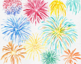 Fireworks clipart glitter Clipart Watercolor Party Art Etsy