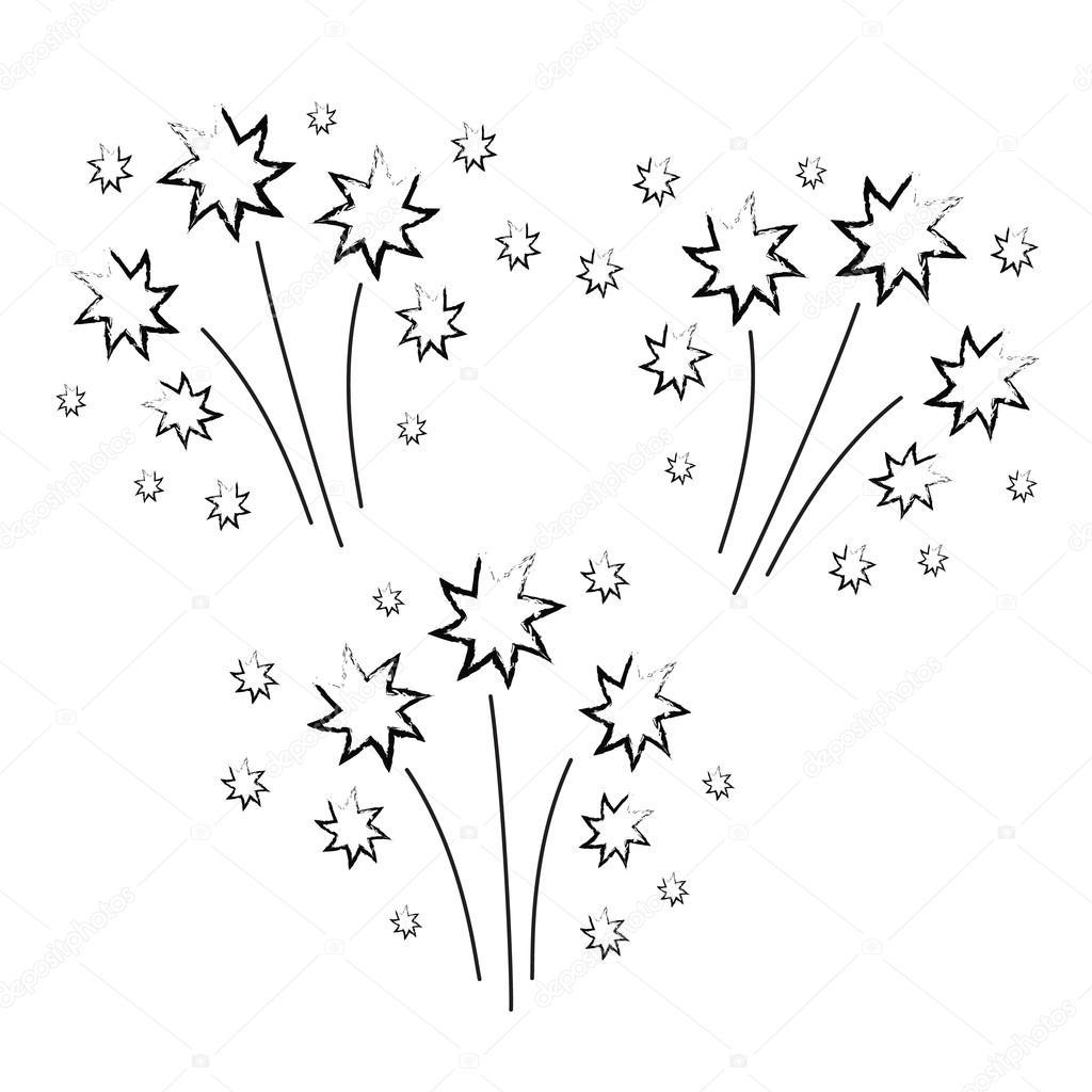Fireworks clipart hand drawn — Stock drawn myub #105405952