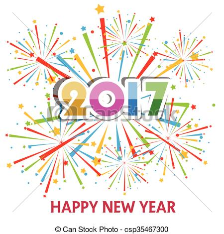 Fireworks clipart happy new year 2017 csp35467300 with New of