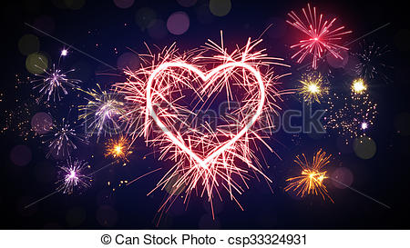 Heart-shaped clipart firework #9
