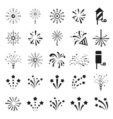 Fireworks clipart icon Stencils vector icon Animals