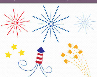 Fireworks clipart independence day firework Clipart Art Fourth Clipart Set