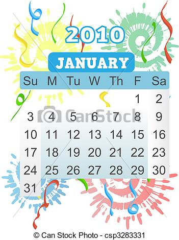 Fireworks clipart january Of Calendar  Sunday 2010