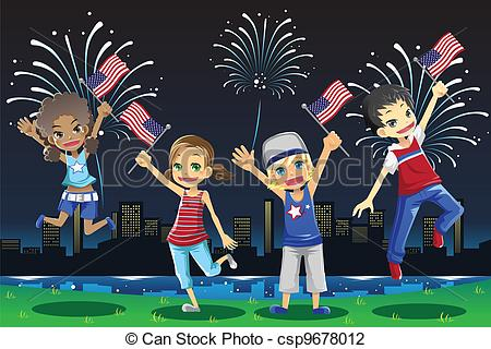 Fireworks clipart kid Of Vector  July Kids