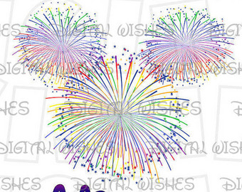 Fireworks clipart mickey mouse Etsy art fireworks Wishes DOWNLOAD