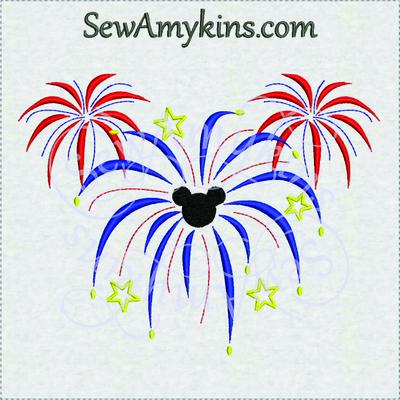 Fireworks clipart mickey mouse SewAmykins  Mickey machine fireworks
