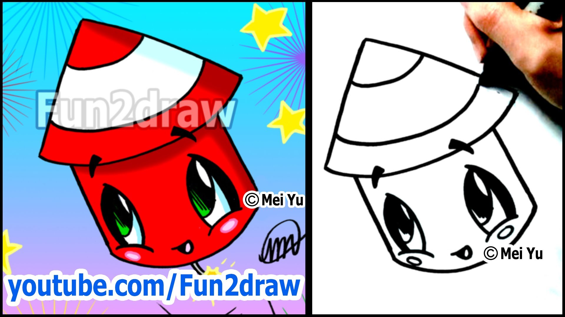 Fireworks clipart one Cartoons VIDEO) Fireworks Draw to