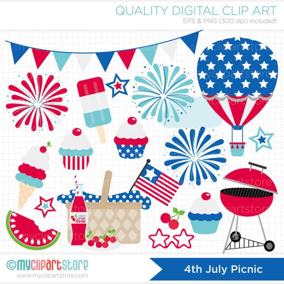 Fireworks clipart picnic Day / 4th  July