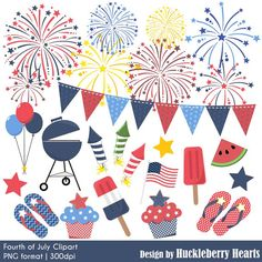 Fireworks clipart picnic HuckleberryHearts Bunting Fireworks Fourth Summer