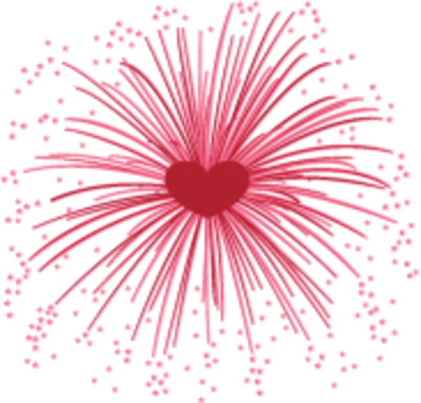 Heart-shaped clipart firework #12