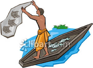 Native American clipart person fishing Fish for Illustration nets Clipart