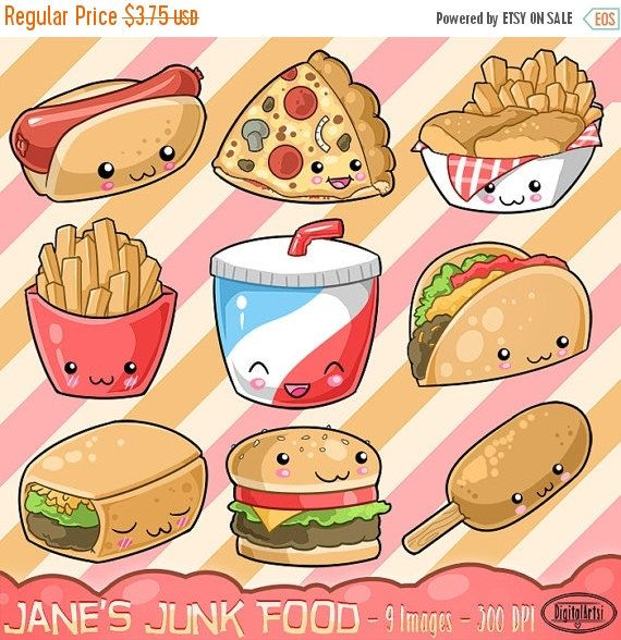 Taco clipart cafeteria food Clipart Food stickers Cute Burger