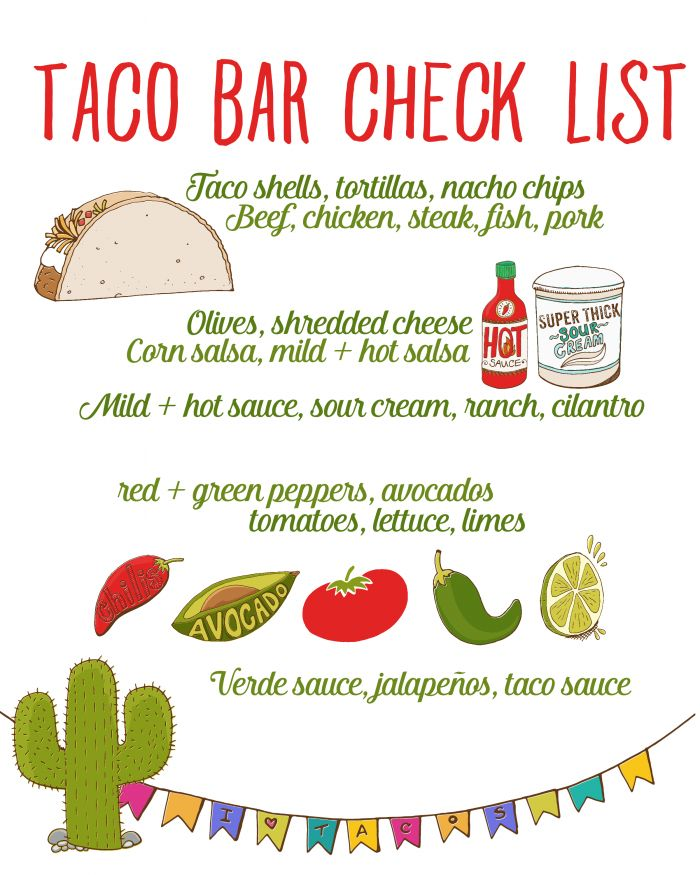 Fish Taco clipart taco bar Checklist ideas this item Taco
