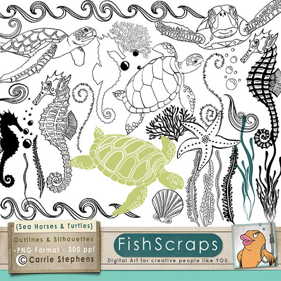 Seaweed clipart outline #11