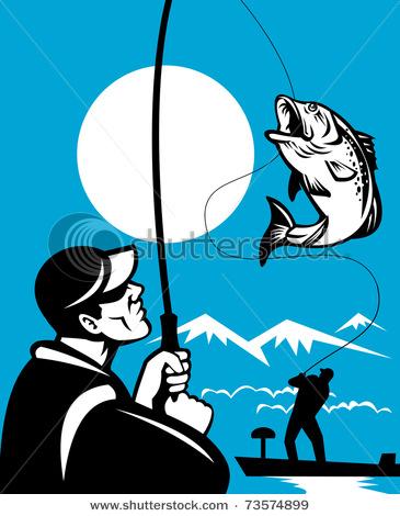 Fisherman clipart bass fishing Fisherman on Largemouth Bass Fly