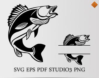 Fisherman clipart bass fishing Cricut pdf cutting for Fisherman