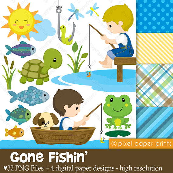 Fisherman clipart gone fishing #1