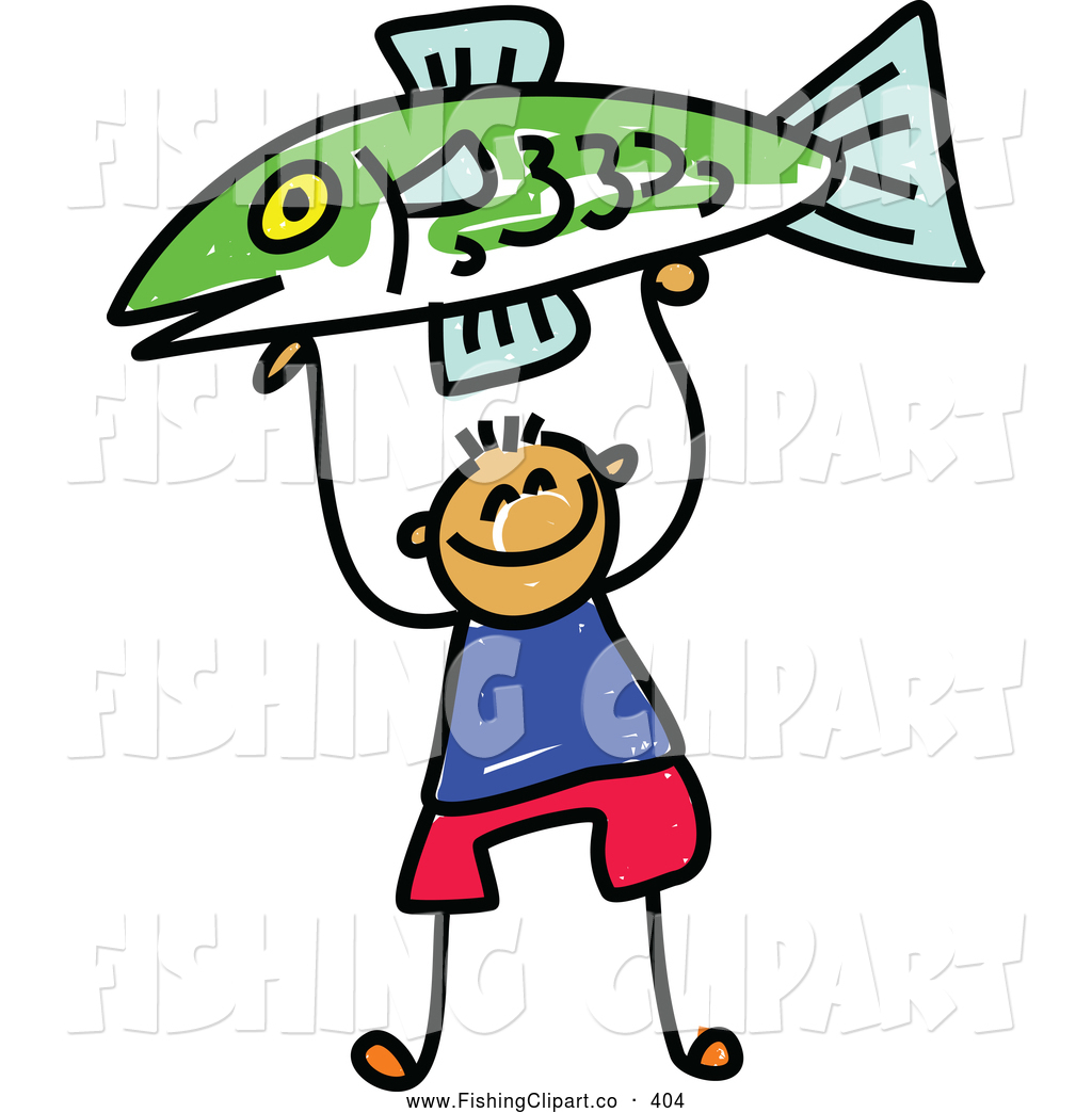 Fisherman clipart little boy Fishing up Holding Proudly 4