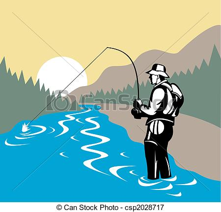 River clipart fisherman Side Stock in rod with