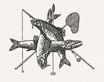 Fisherman clipart vintage fishing Clipart Fisherman's Fish hook Vintage