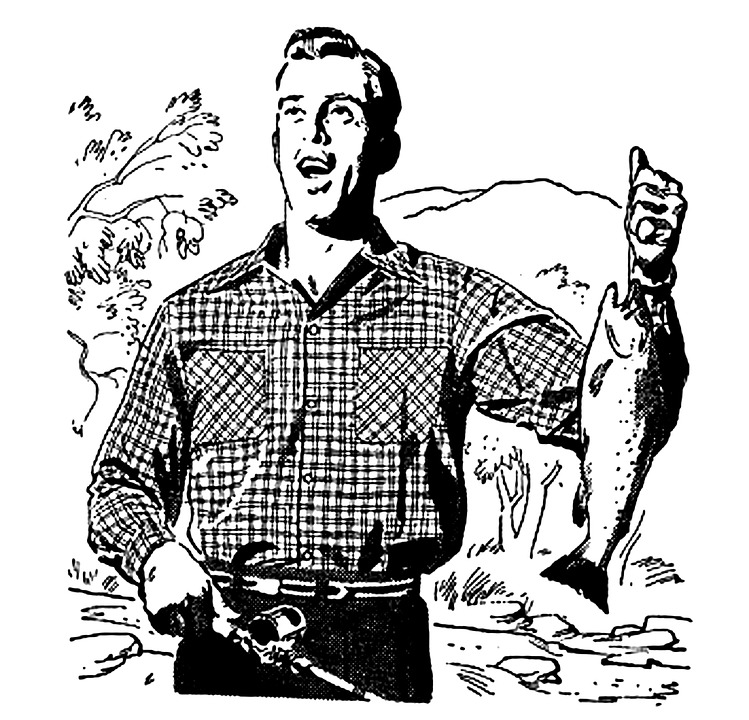 Fisherman clipart vintage fishing Big Man Pixel Vintage Art
