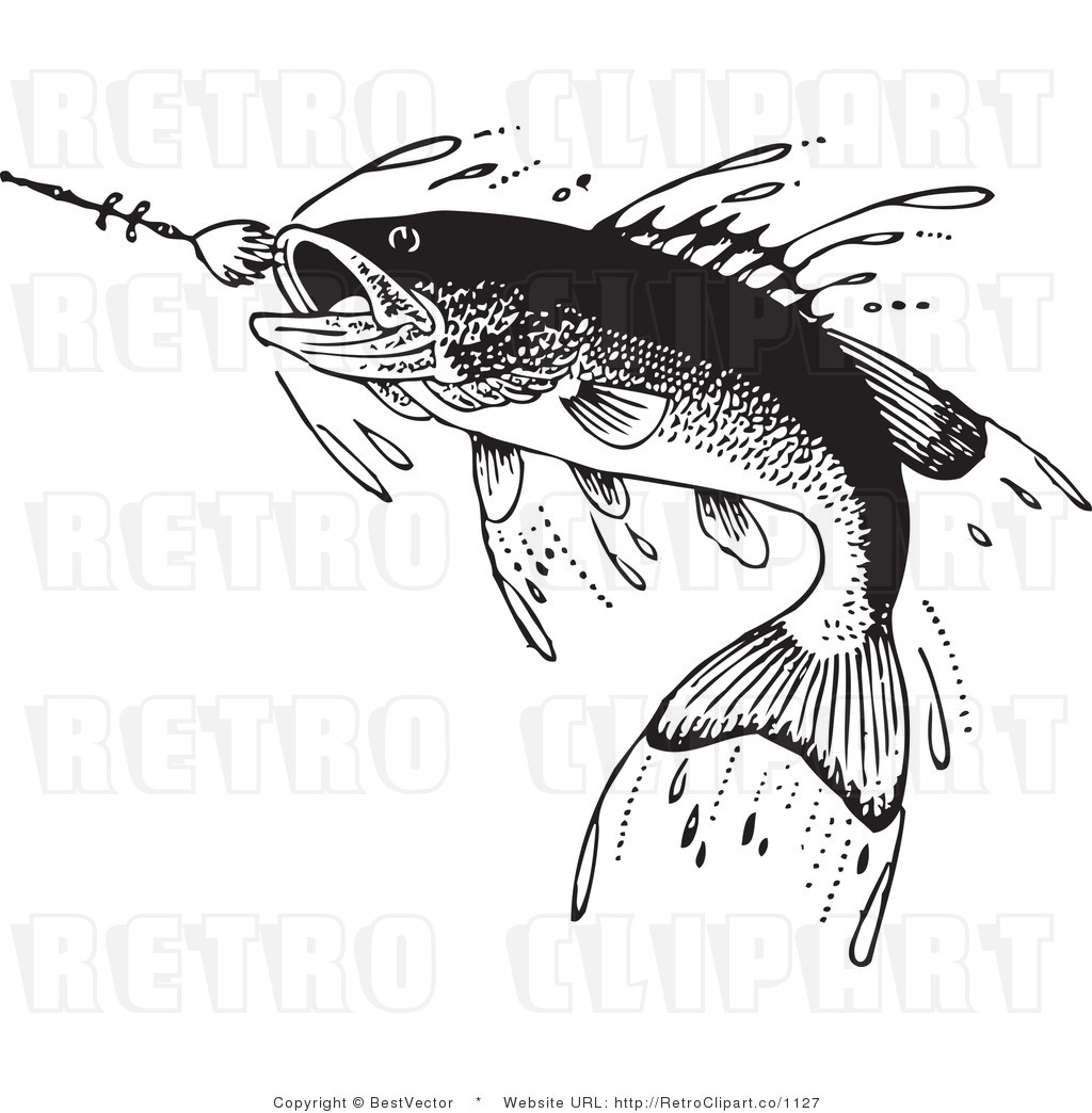 Fisherman clipart vintage fishing White white fish and Vector
