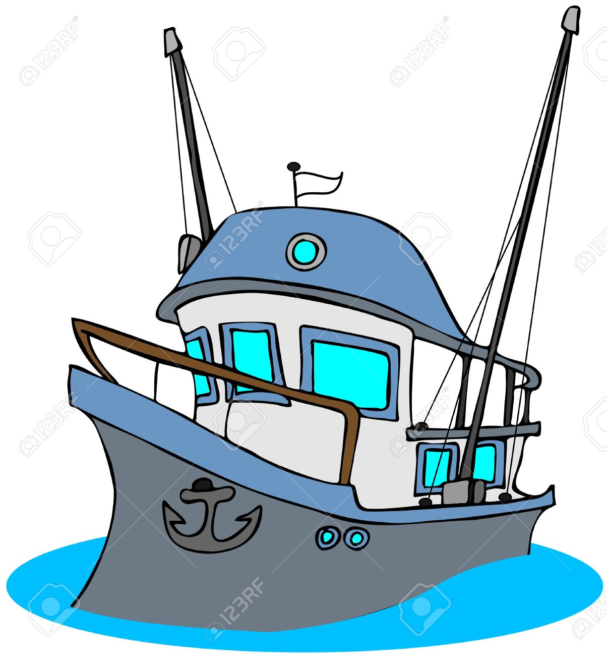 Boat clipart fishing trawler Cartoon clipart collection Stock Trawler