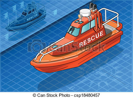 Boat clipart rescue boat Rescue Boat View Front Isolated