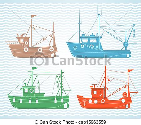 Boat clipart fishing trawler  of Set of Clipart