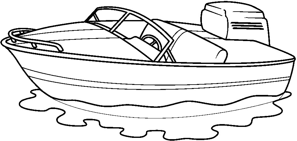 Black & White clipart fishing boat And white and white art