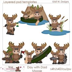 Moose clipart fishing Templates $5 by Day marlodeedesigns