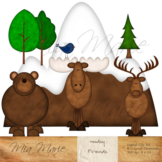 Moose clipart scene #1