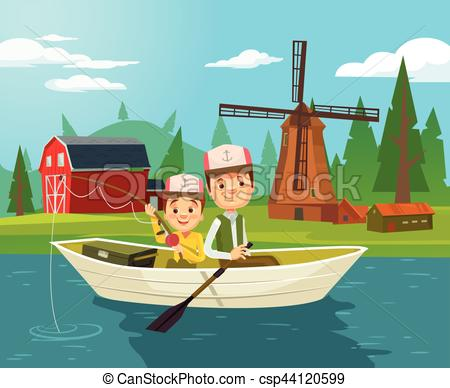 Fishing Net clipart boatman Flat Vector fishing Illustration of
