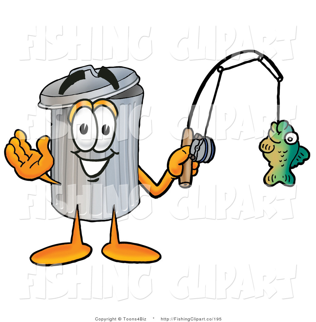 Fishing Rod clipart cartoon character A Happy Garbage Clip Fishing