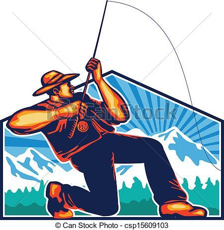 Fishing Rod clipart fisherman Of Retro Fishing Fisherman