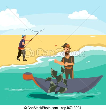 Fishing Rod clipart fisherman net Sea Cartoon and net pulls