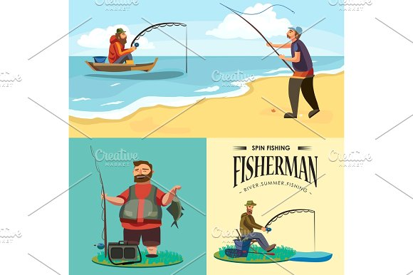 Fishing Rod clipart fisherman net Catches hat shore in rod