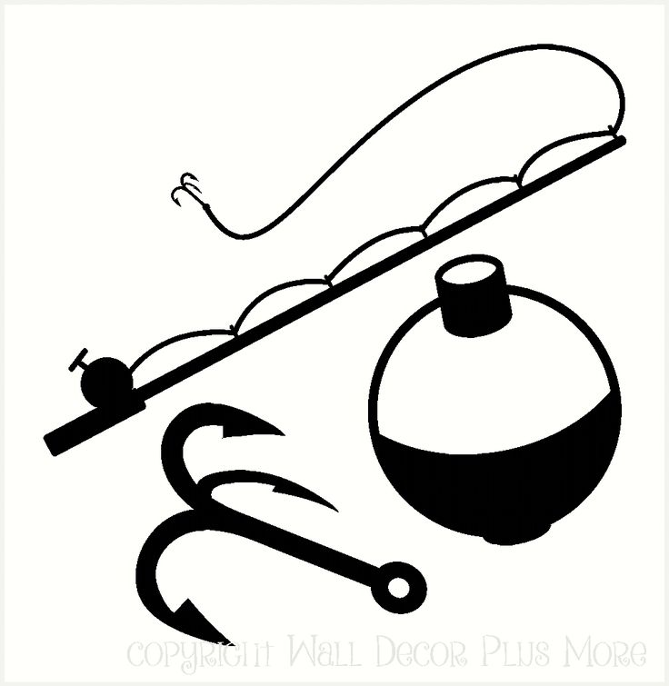 Fishing Rod clipart hunting and fishing Vinyl Decal tackle hunting Vinyl