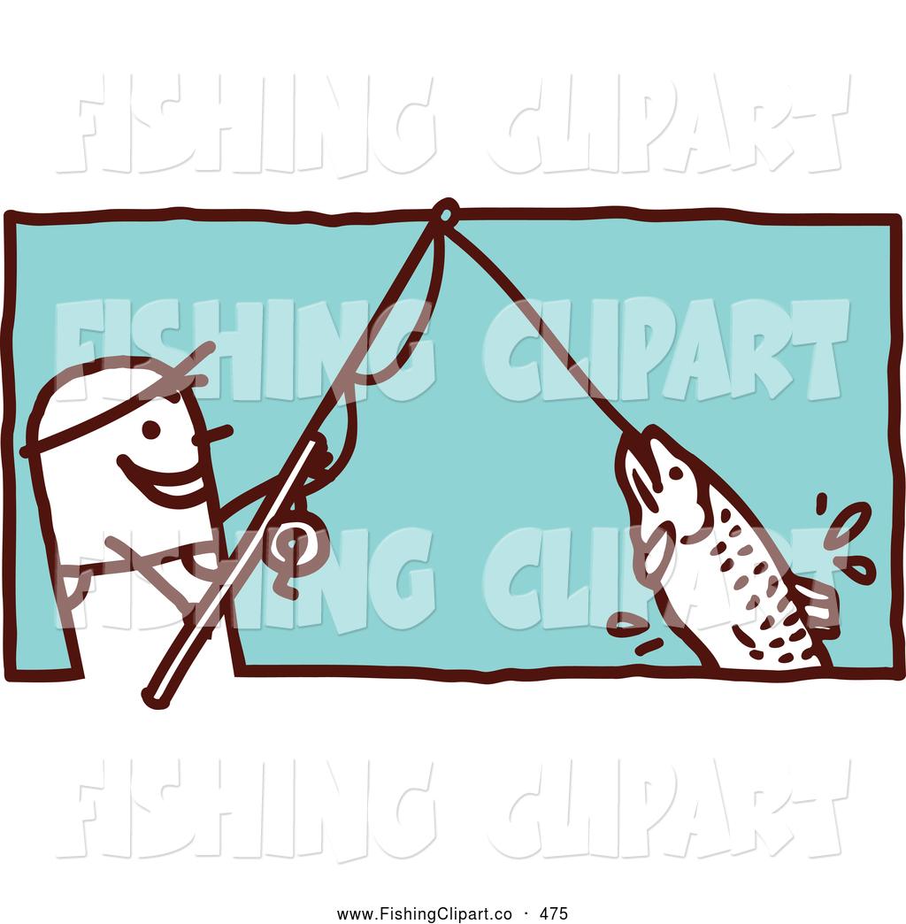 Fishing Rod clipart stick man On Fishing Fish Reeling a