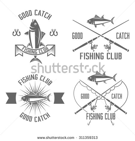 Fishing Rod clipart vintage Emblems isolated vintage vector club