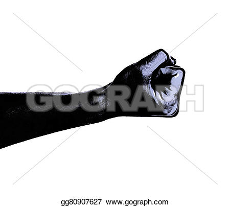Fist clipart drawing raised Fist silhouette gg80907627 white silhouette