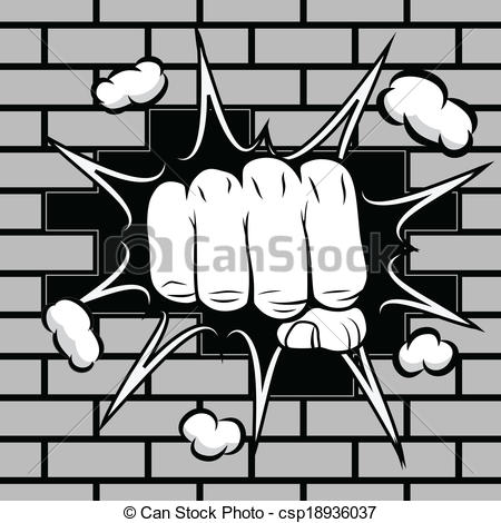 Fist clipart hitting Csp18936037 hit of illustration wall