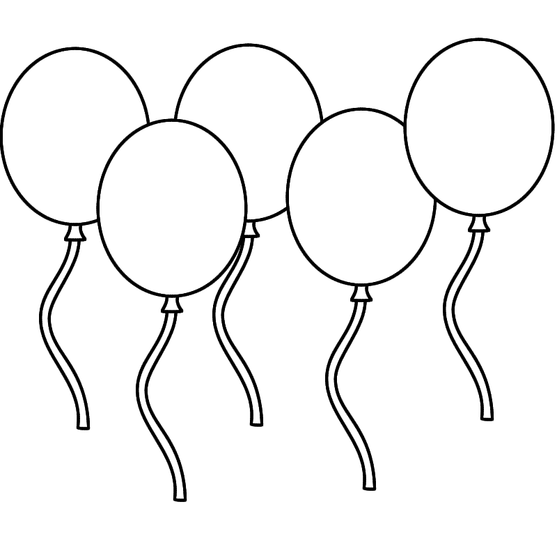 Balloon clipart five Balloons (Leap Coloring Day) page