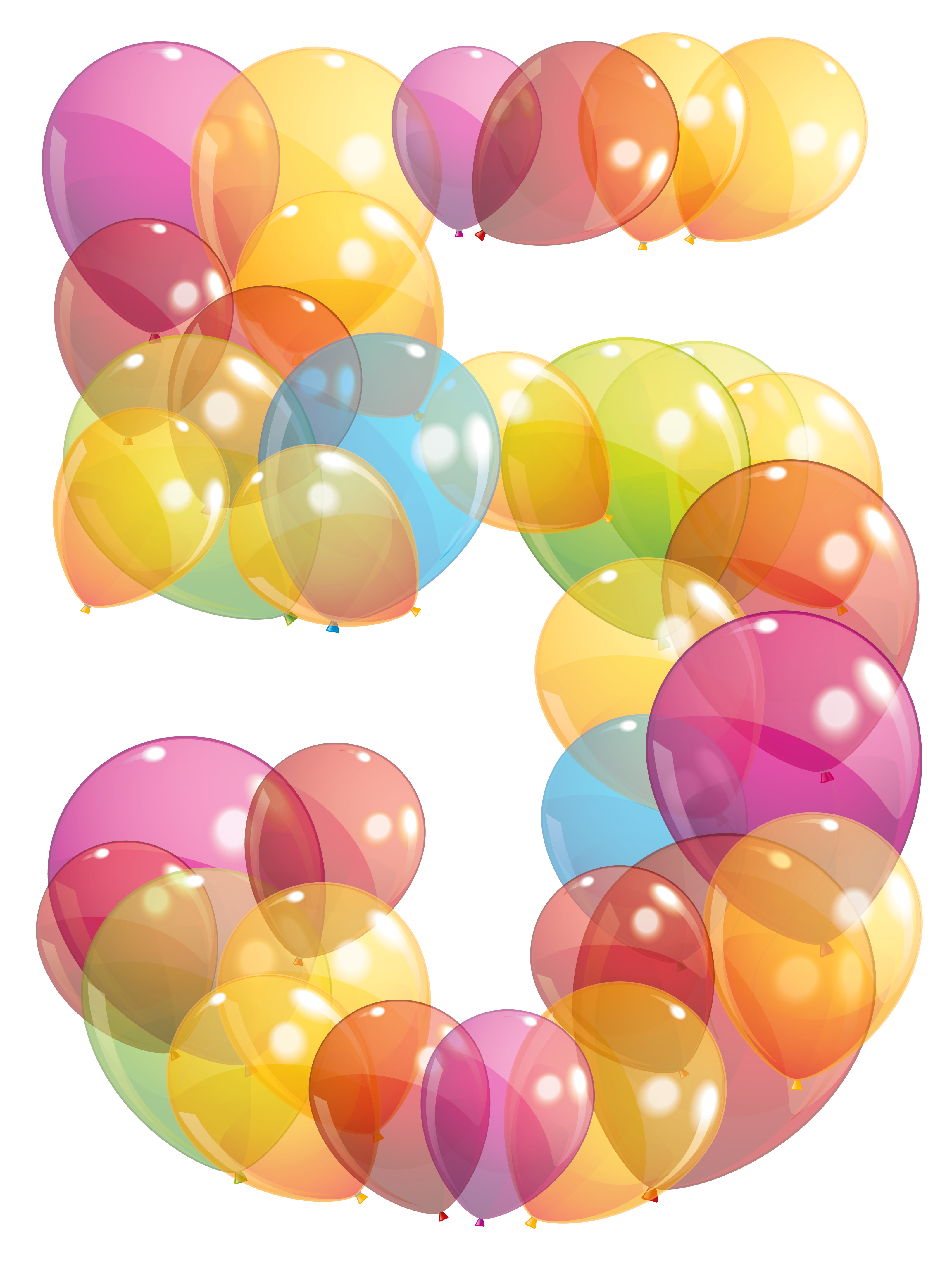 Balloon clipart five Transparent of Clipart Five Balloons