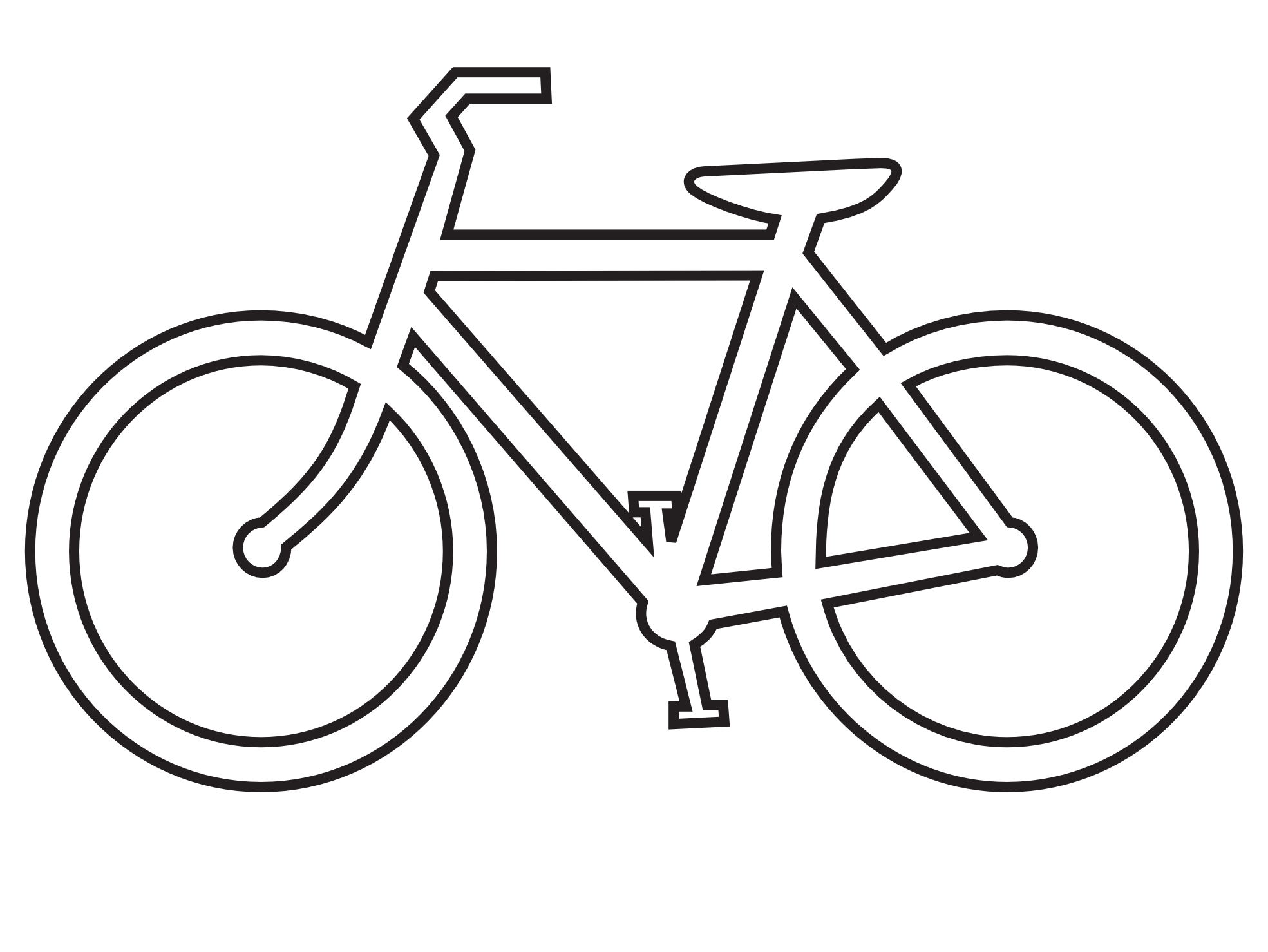 Bicycle clipart line drawing  route sign sign Best