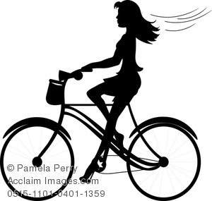 Biker clipart riding bicycle A of a a Stock