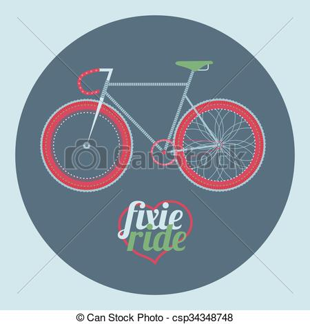 Fixie clipart fixed gear Vector illustration of bicycle Vector
